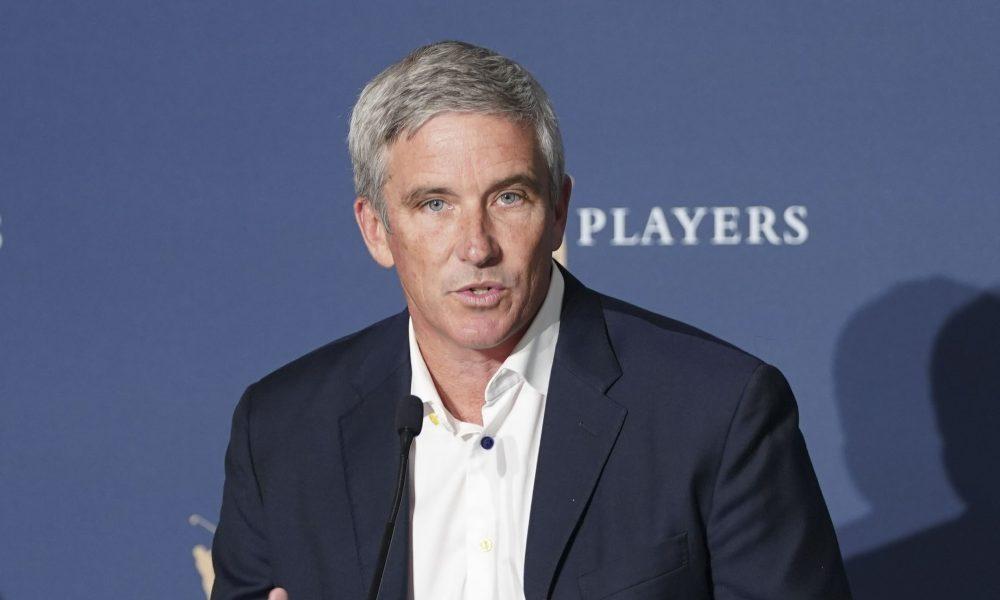 Ông Jay Monahan trong buổi họp báo tại The Players Championship 2020. (Ảnh: Golfweek)